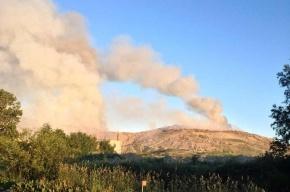 Спасатели на вертолетах тушили пожар на свалке под Петербургом