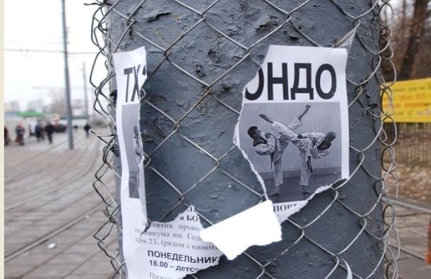 Власти Москвы рассматривают новые способы борьбы с рекламой на столбах: краска с песком, автодозвон и штрафы