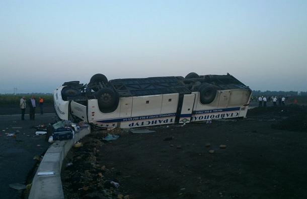 Под Ставрополем перевернулся автобус с пассажирами
