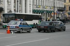 На Невском проспекте автомобиль Audi врезался в рейсовый автобус