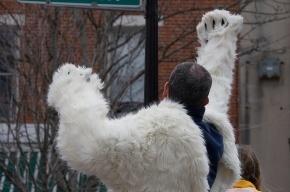 «Белый медведь» проплыл по Москве-реке, протестуя против «Гринпис»