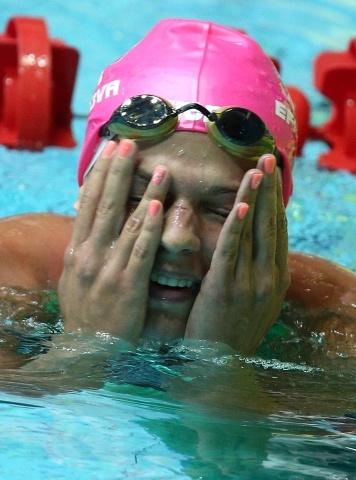 Юлия Ефимова установила мировой рекорд в плавании на 50 м брассом 10 ноября 2013 года: Фото
