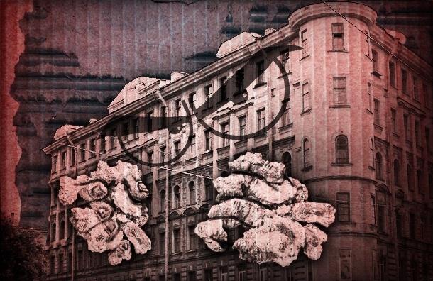 Петербуржец с помощью «блокадных» надписей предупреждает об опасных фасадах