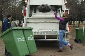 На КАД опрокинулся мусоровоз, пострадали пешеходы