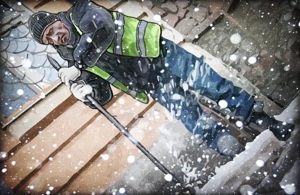 Петербург готовится к снегу: дворники увольняются, опасных крыш стало больше
