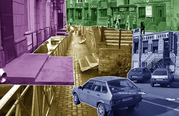 В Петербурге лестницы магазинов съедают пешеходные тротуары
