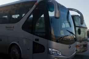 Автомобиль въехал в туристический автобус в Невском районе
