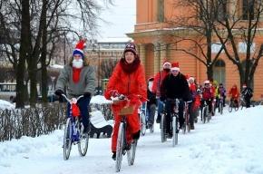 Деды Морозы и Снегурочки проехали по Невскому проспекту на велосипедах
