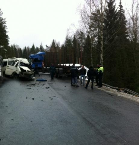 Девять человек погибли в столкновении автобуса и лесовоза в Ленобласти: Фото