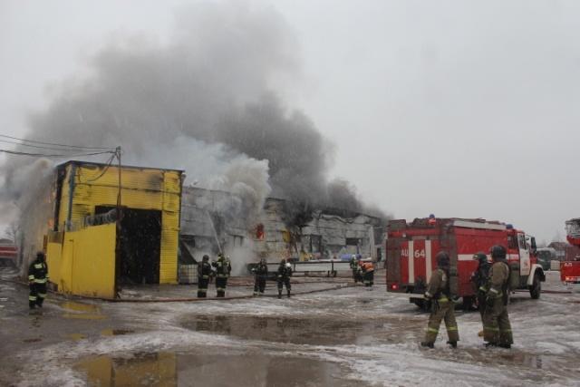 В Металлострое тушат крупный пожар в автомобильном ангаре: Фото