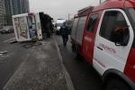 В Петербурге пассажирка маршрутки погибла в аварии с мусоровозом: Фоторепортаж