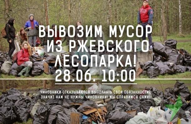 Горожане своими руками очищают от мусора Ржевский лесопарк