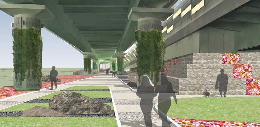 Бульвар под эстакадой. Проект