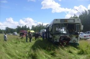 В Петергофе рейсовый автобус столкнулся с иномаркой, есть пострадавшие