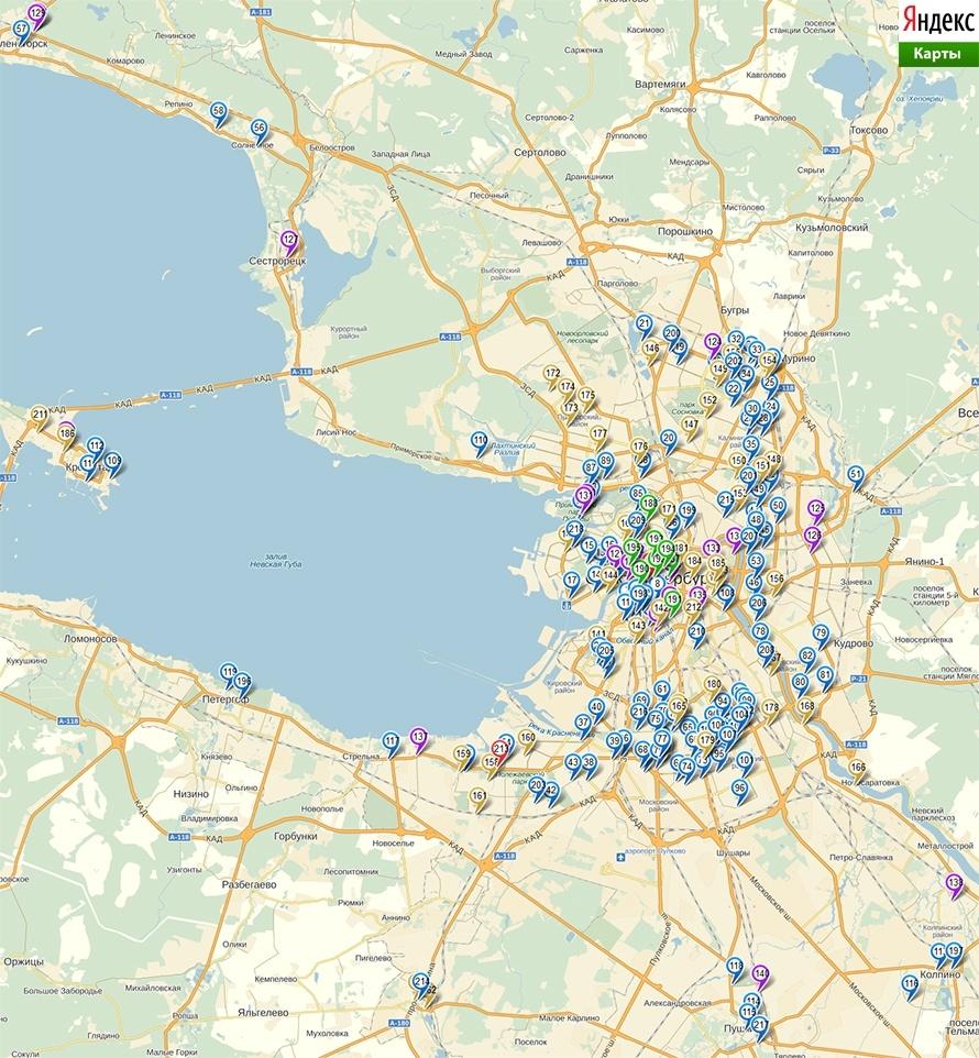 Карта расположения общественных туалетов Санкт-Петербурга, за которые отвечает ГУП «Водоканал Санкт-Петербурга»
