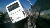 Туристический автобус попал в аварию на съезде с ЗСД: Фоторепортаж