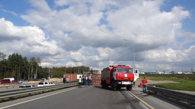 Перевернувшаяся фура перегородила КАД на севере Петербурга: Фото