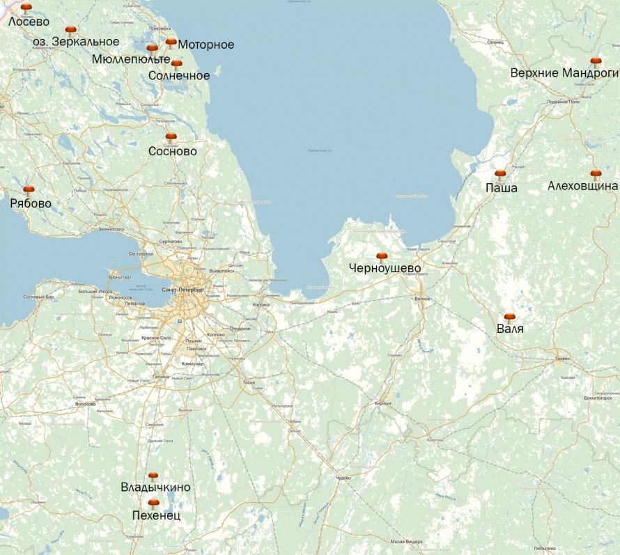 Грибная карта Ленобласти