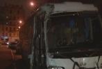 На Петроградке автобус снес ограду около собора: Фоторепортаж