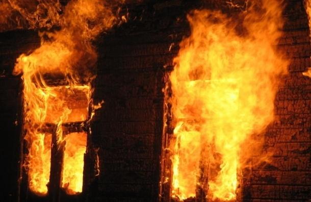 В Выборгском районе сгорело одноэтажное здание