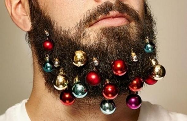 В Великобритании продают новогодние игрушки для бороды