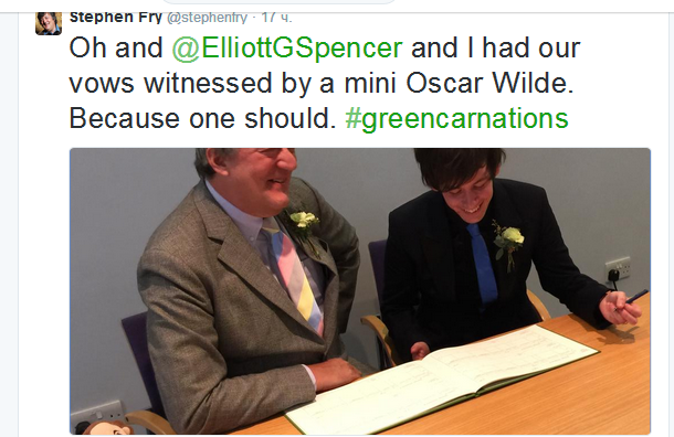 Стивен Фрай оформил брак с 27-летним бойфрендом