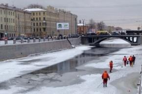 Возобновлен поиск человека подо льдом Обводного канала