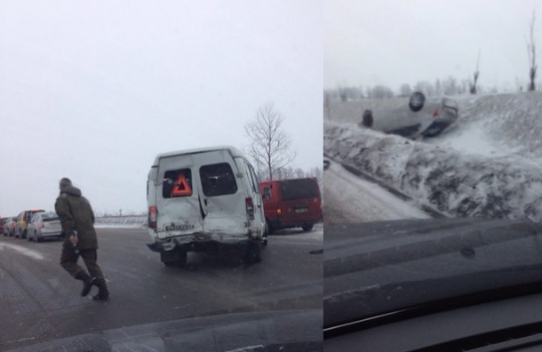 Многокилометровая пробка образовалась из-за аварии с 40 машинами
