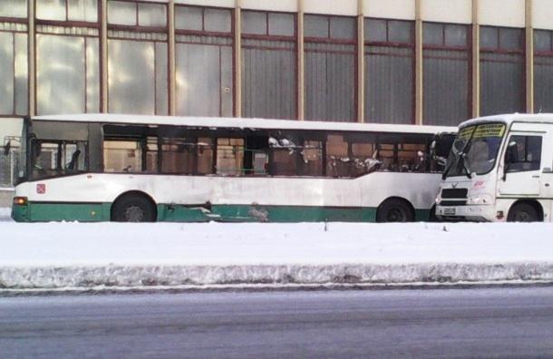 На улице Салова столкнулись рейсовый автобус и маршрутка, есть пострадавшие