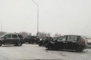 На Пулковском шоссе произошло массовое ДТП
