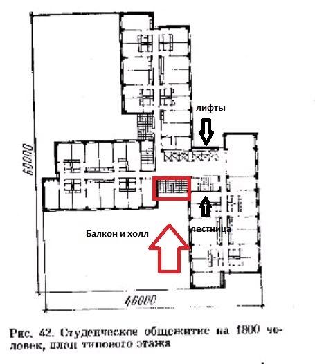 Лифтовый холл обведен красным. Иллюстрация из книги Сербиновича П.П. «Архитектура гражданских и промышленных зданий»