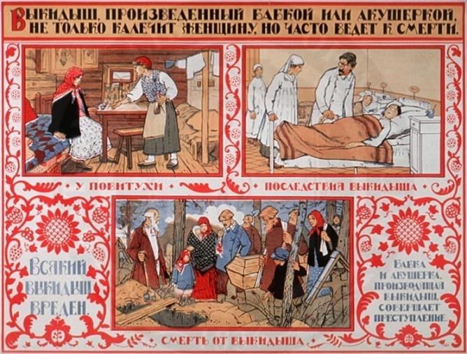 Агитплакат СССР против криминальных абортов, 1925 год