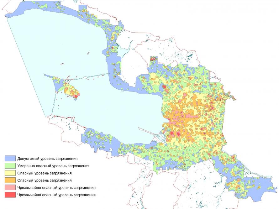 Карта загрязнения петербургских почв от комитета по природопользованию. Хуже всего ситуация около свалок и в промышленных районах.