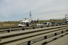 Четыре автомобиля столкнулись на КАД перед съездом на Пулковское шоссе