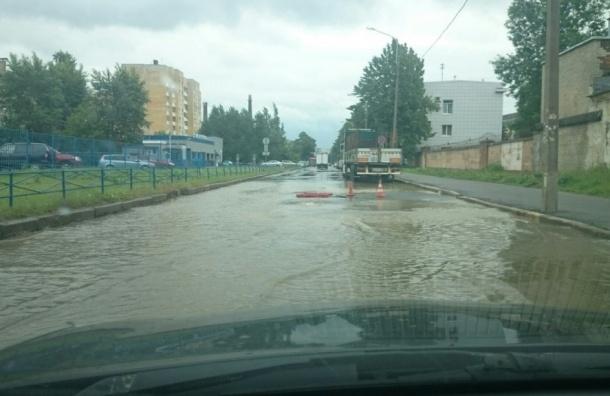 В Петербурге на Железнодорожном проспекте прорвало трубу
