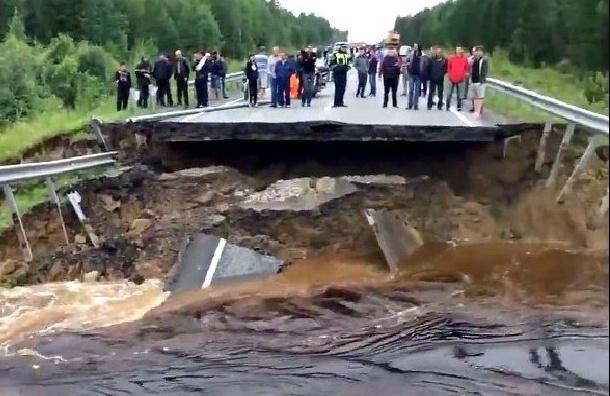 Дорогу Тюмень-Ханты-Мансийск размыл ночной ливень