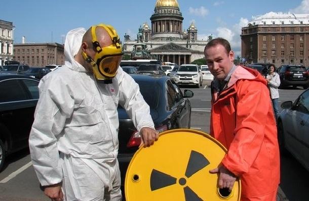 У здания петербургского ЗакСа появилась «бочка с ядерными отходами»