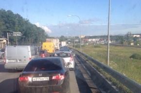 Пулковское шоссе стояло в пробках из-за дорожных работ