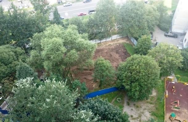 В Выборгском районе вырубают сквер на улице Композиторов