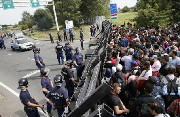 Мигранты подожгли покрышки на границе Венгрии и Сербии