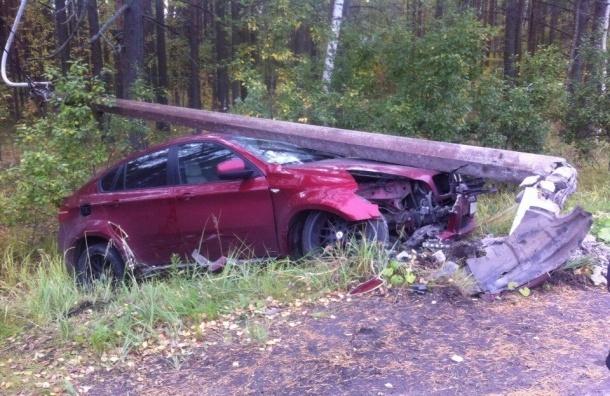 Два BMW столкнулись на Зеленогорском шоссе, на одну из машин упал столб