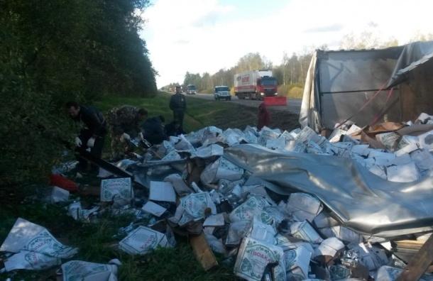 Водители разграбили грузовик с водкой, который перевернулся под Тверью