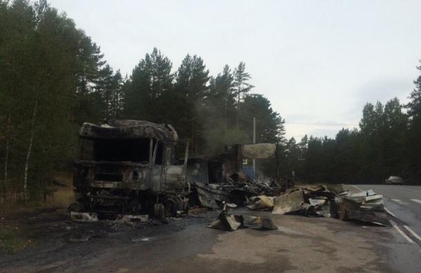 Очевидцы: у поселка Систо-Палкино дотла сгорела фура (ФОТО)
