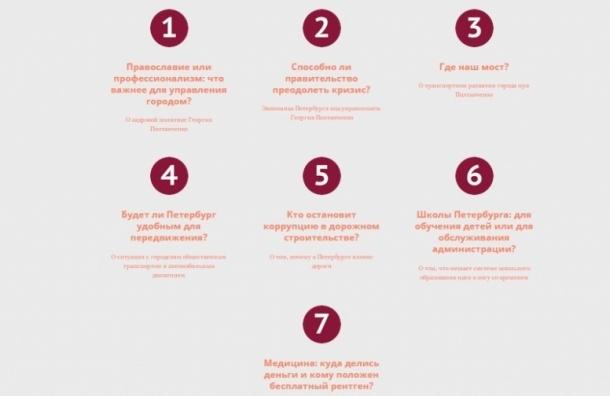 Проект «Семь вопросов губернатору Петербурга» запустил «Парнас»