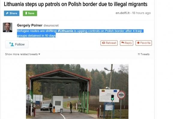 Литва установила миграционные заслоны на границе с Польшей
