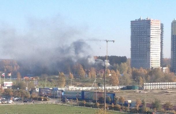 Мощный пожар возле новостроек произошел в Кудрово