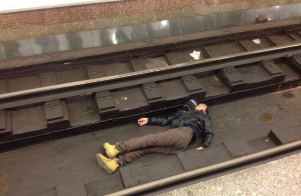Поезда «фиолетовой» ветки стоят из-за человека на путях
