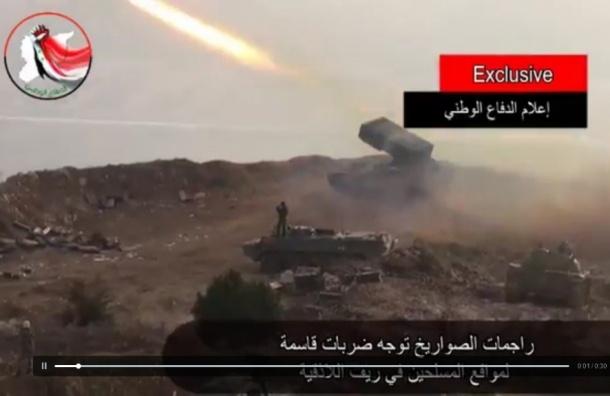 Российские реактивные огнеметные установки «Буратино» применили в Сирии