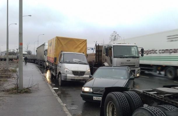 Колонна грузовиков со скоростью 5 км/ч едет от «Ленты» на Московском шоссе в сторону Дунайского