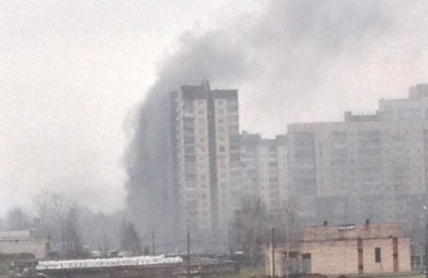 Облако черного дыма от пожара поднялось над одним из домов по Рыбацкому проспекту
